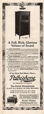 1915 Pathe Freres Phonograph Pathephone Record Player New York NY vintage Ad
