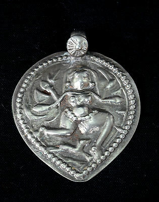 Great Vintage Silver Amulet Pendant Representing Indian God Deity Figure. G10-6