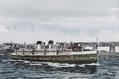 "ORIGINAL AQUARELL - Manly ferry ""North Head""."