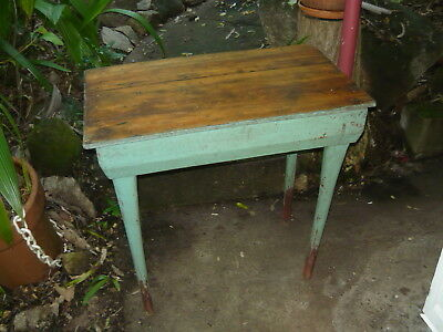 Chunky Industrial Hall Table Vintage Antique Hoop Pine Wood Depression Era