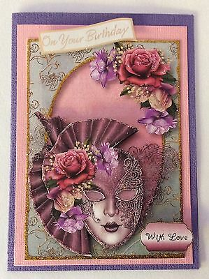 "Birthday card Handmade 3D  ""Masquerade in Lilac"""