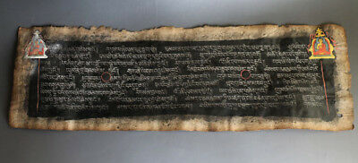 @Wonderful Rare 18th Century Old Antique Tibet Silver Sutra Lection Manuscript @