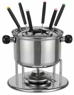 gsw fondue set 10 tlg fleischfondue fonduetopf rechaud edelstahl 6 fonduegabeln eur 23 40. Black Bedroom Furniture Sets. Home Design Ideas