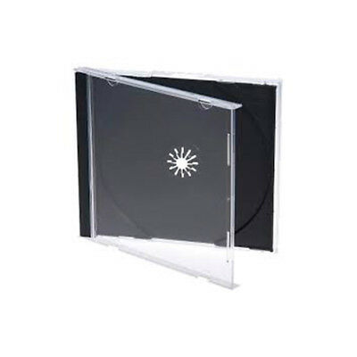100 x Jewel CD / DVD Clear Case, Black Tray,  Single Disc, Standard Size, NEW