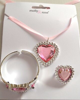 NEW Childrens Heart pink pendant necklace, bangle and ring set jewellery fashion
