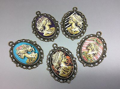5 x Sugar Skulls Lady Skeleton Cameo Pendants Bronze  Make your own jewellery