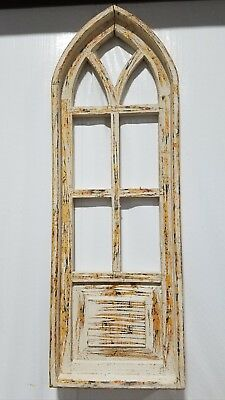 """12""""x34"""" Natural Wood Gothic Wooden Arch Window*"""