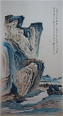 Excellent Chinese 100% Hand Painting & Scroll Landscape By Zhang Daqian 张大千 LT88