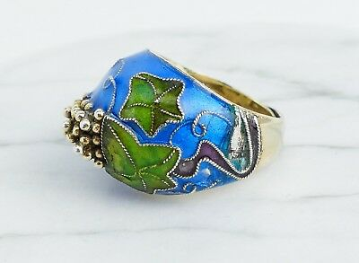 Vintage Chinese Export ~Sterling Silver~ Multi-Color Enamel Ring w/Grape Cluster