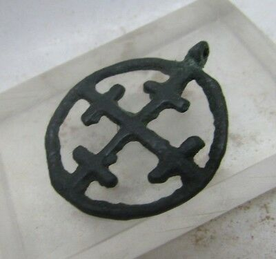 Ancient Byzantine Bronze Crusaders Cross Amulet Rare