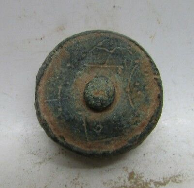 Rare Ancient Byzantine Bronze Solidus Weight With Monograms 26.2G