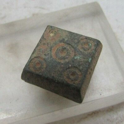 Ancient Byzantine Bronze Square Weight With Ring And Dot Motifs Rare