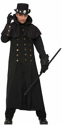 Men's Warlock Coat Costume Vampire Lord Victorian Steampunk Black Gothic Adult