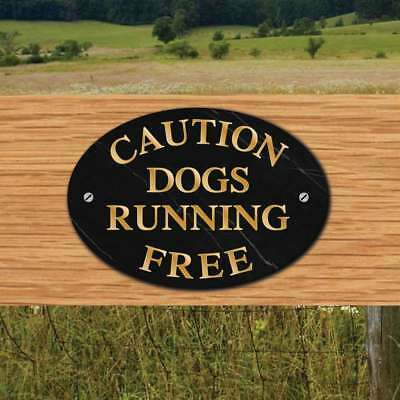 DOG RUNNING FREE Sign, Pet Gate Sign, Dog Plaque, Choice of Slate Effects
