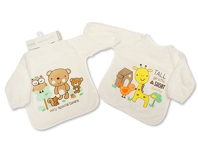 Large Long Sleeved Baby Bibs Unisex with PEVA back - Single or 2-Pack - 740