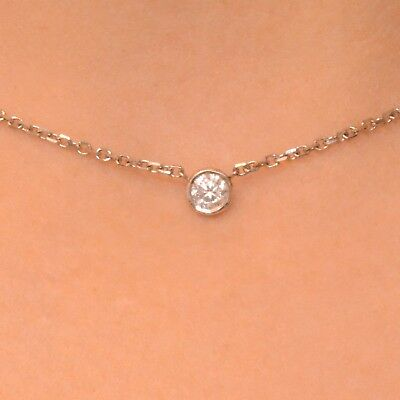 0.20 Ct. Solitaire Diamond By The Yard Single Station Necklace Natural 14k Gold