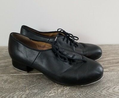 BLOCH  Black Leather Lace Up  Block Heel Tap Clogging Shoes, Wms Size 10, EUC