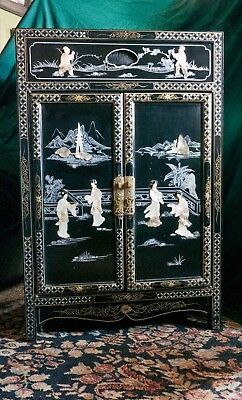 Oriental Cabinet prob.1970's Walnut with Abalone and Hand Painted Detail- Nice!