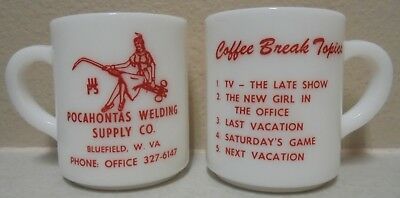 2 Vintage Milk Glass Coffee Cups Pocahontas Welding Bluefield, West Virginia