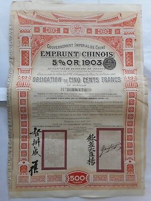 Emprunt CHINOIS 1903  OR 5% GOLD CHINA CHINE CHINESE