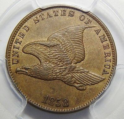 1858 Pcgs Ms62 Small Letters Flying Eagle Cent