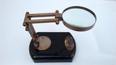 Brass Magnifying Glass Vintage Antique Nautical Table Top Decorative Magnifier