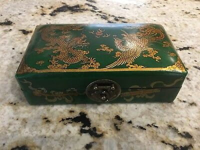 Vintage Antique Asian Chinese Japanese Dragon Jewelry Lock Box