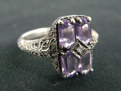 Sterling Silver Amethyst & Diamond Art Deco Filigree Ring Size 9.75 Signed