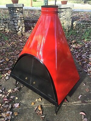 Mid century mod red-orange Majestic cone fireplace Malm - possible SE delivery