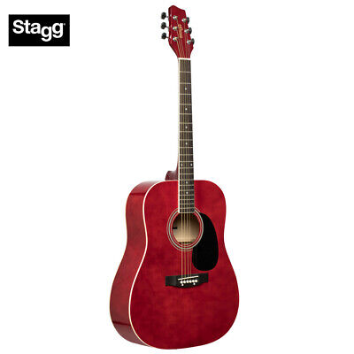 NEW Stagg SA20D Full Size Student Dreadnought Acoustic Guitar - Red
