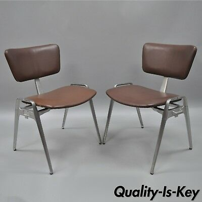 Pair Vtg Cast Aluminium Stacking Side Chairs by Crucible Mid Century Modern C