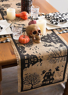 "Witch Cat Haunted Halloween Decor Table Runner Rustic Burlap Decor 74"" L"
