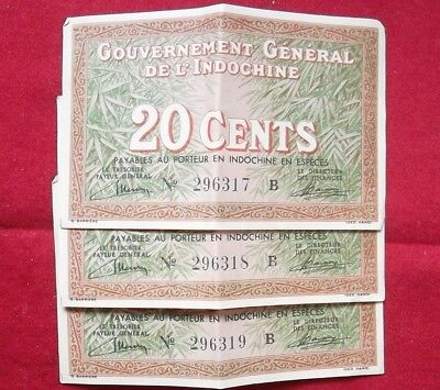 Three (3) consecutive French Indochina 20-cent notes - 1939, signature 12 (#86a)