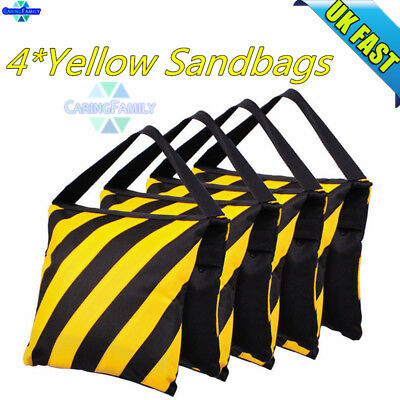 4PCS Yellow Photo Studio Sand Bags for Light Stands Boom Arms Tripods Balance UK