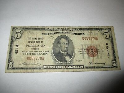 $5 1929 Portland Oregon OR National Currency Bank Note Bill Ch. #4514 FINE!