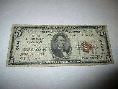 $5 1929 Dawson Texas TX National Currency Bank Note Bill Ch. #10694 FINE!
