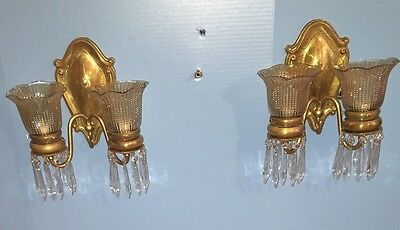 2 Unique Elegant Brass Sconces With Hanging Prisms Vintage Antique Wired 6D