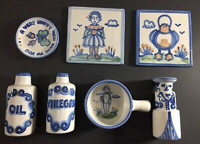 M A Hadley Pottery Folk Art Collection Lot Of 7 Bowl Oil Vinegar Trivet Trinket