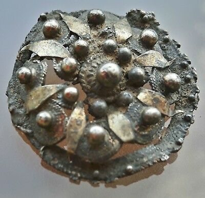 BYZANTINE SILVER  BROOCH with GOLD PLATED LEAVES ON TOP !!