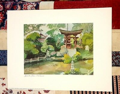 "JAPANESE TEA GARDEN SAN FRANCISCO Print by FLOYD HILDEBRAND 11.5 x 15"" (1970)"