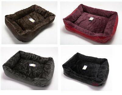 Soft Comfy Wrax Leather Washable Pet Dog Cat Bed Basket  warm Cosy Fleece