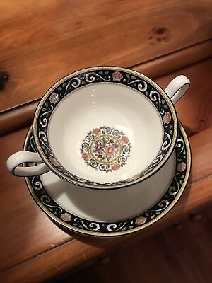 Wedgwood Runnymede Blue W4472 Cream Soup Bowl and Saucer