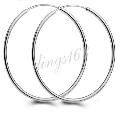 Womens 925 Sterling Silver Classic 55MM 2.2Inch Large Endless Thin Hoop Earrings