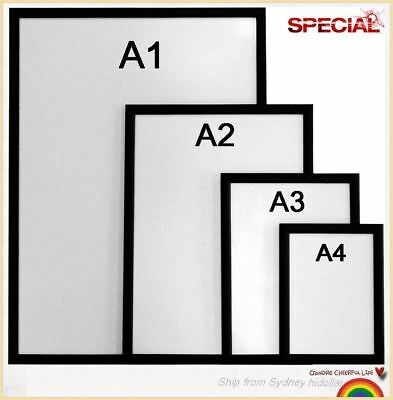 Black Aluminium Snap Photo Frame Poster Frame Sign Wall Holder A1 A2 A3 A4