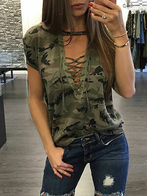 Sexy Fashion Womens Ladies Casual Loose Tops Short Sleeve T-Shirt Summer Blouse