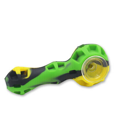 Tobacco Smoking Silicone Hand Pipe with Cap and Glass Honeycomb Bowl