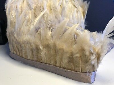 Tan Rooster Feather Fringe Ribbon Trim (price for 30cm) DIY Craft Clothing