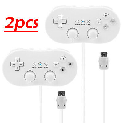 2 Pack Wired Classic Controller Pro For Nintendo Wii / WiiRemote White
