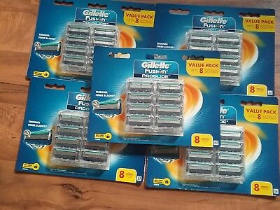 Gillette Fusion Proglide 5 X  Packs Of 8 Cartridge( 40 Blades)Free  Express Post