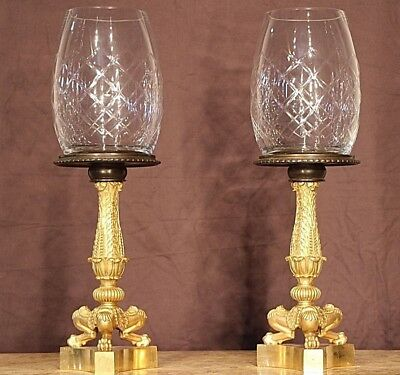 Pair French antique gilt bronze Tazza Empire cassolettes lamps ormolu urns 1835